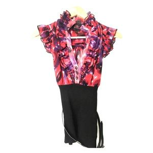BEBE | Floral blouse with ruffle details